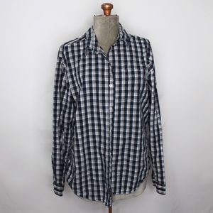 Eddie Bauer Blue White Plaid Button Down Shirt